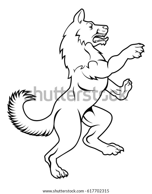 Pet Dog Wolf Animal Standing On Stock Vector Royalty Free 617702315