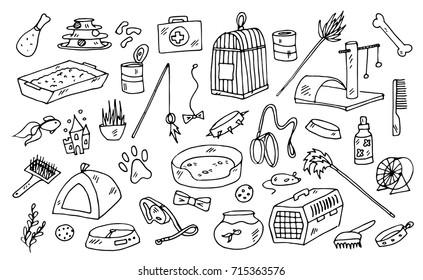 pet doodle vector pattern