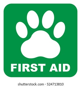 Pet first aid, green square sign with white paw, vector illustration.