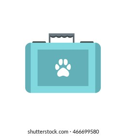 Pet first aid kit icon in flat style on a white background