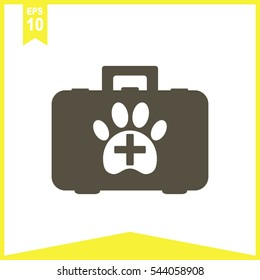 Pet first aid kit vector icon. Clinic box.