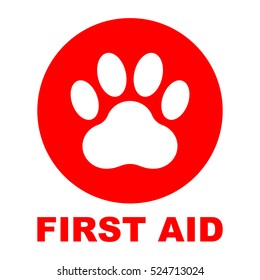 Pet first aid, red round sign with white paw, vector illustration.