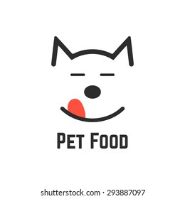 pet food logo with dog icon. concept of veterinary, visual identity, vet, dog forage, wildlife, pet store, feed. isolated on white background. flat style trend modern brand design vector illustration