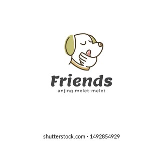 Pet friend logo design. Adorable pet shop logo template. Cute animal, Linear dog head icon, Good friends vector design. Smiling and fun dog