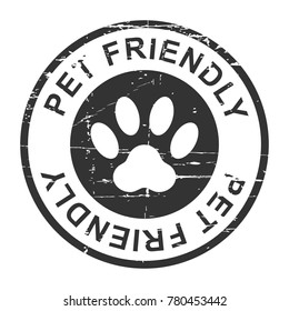 Pet friendly grunge stamp, black isolated on white background, vector illustration.