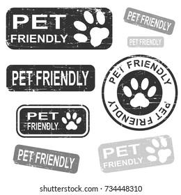 Pet friendly grunge stamp set, black isolated on white background, vector illustration.