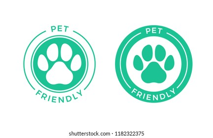 Pet friendly logo icon for Pets allowed hotel sign. Vector animal welcome stamp