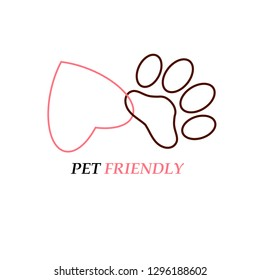 Pet friendly logo, print for t-shirt. Outline red heart linking with outline black footprint on white. Design element stock vector illustration for web, for print, for pet shop, for veterinary pharmac