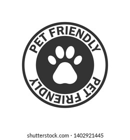 Pet friendly stamp, black isolated on white background, vector illustration.