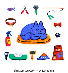 Pet grooming concept. Cute sleeping cat and Set of Cats accessories. Pet shop stuff, care, grooming, hygiene, health. Flat style vector illustration