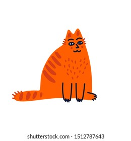 Pet grooming concept. Fat red cat sitting in a funny pose. Cat care, grooming, hygiene, health. Pet shop, accessories. Flat style vector illustration on white background