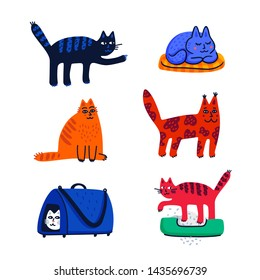 Pet grooming concept. Set of cartoon cats with different colored fur and markings standing sitting or walking. Cat care, grooming, hygiene, health. Pet shop, accessories. Flat style vector