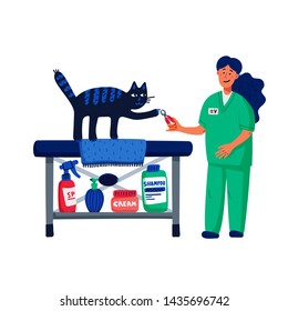 Pet grooming concept. Young woman cutting cats claws. Cat care, grooming, hygiene, health. Pet shop, accessories. Flat style vector illustration on white background