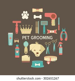 Pet grooming icons set. Collection of flat vector web icons. Vector  dog care template.