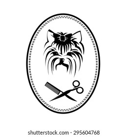 Pet grooming logo with dog, hairbrush and scissors, doggy sign. Company logo design
