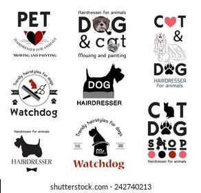 Pet grooming logo. Hair salon for animals logo labels badges.Trimming dogs logo design element. Animal care logo sign. Tools for dog grooming. Pet animal logo signs. Dog cat logo.Footprint animal sign