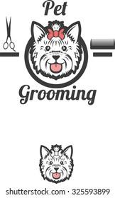 Pet grooming vector logo. terrier