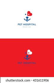 Pet hospital logo template.