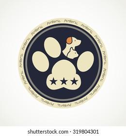 Pet hotel circle logo or icon