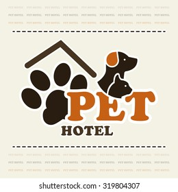 Pet hotel or pet club concept logo in beige and brown color art