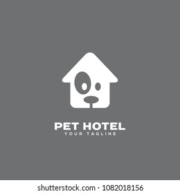 Pet hotel logo design template. Vector illustration.