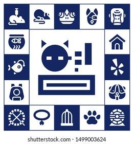 pet icon set. 17 filled pet icons.  Collection Of - Rat, Fish bowl, Anglerfish, Meow, Pet, Dog house, Yelp, Hamster, Hamster ball, Collar, Chameleon, Bird cage, Dog, Pawprints