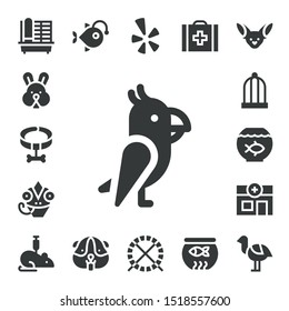 pet icon set. 17 filled pet icons.  Simple modern icons about  - Cage, Rabbit, Collar, Parrot, Chameleon, Bird cage, Fish bowl, Veterinary, Rat, Anglerfish, Hamster, Yelp, Hamster ball