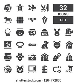 pet icon set. Collection of 32 filled pet icons included Parrot, Leash, Bird cage, Rabbit hutch, Cat, Frisbee, Dog, Dog house, Veterinarian, Veterinary, Fishbowl, Kennel, Pet