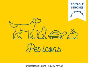 Pet icon set with editable strokes. Dog, cat, turtle and rabbit symbols on yellow background. Minimal dog, pussy, tortoise and bunny outlines for infographics or web use. Pixel perfect flat design.