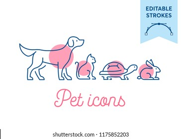 Pet icon set with editable strokes. Dog, cat, turtle and rabbit symbols. Minimal dog, pussy, tortoise and bunny outlines for infographics or web use. Pixel perfect flat design. Animal illustration