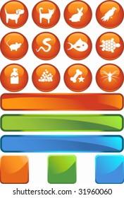 Pet Icon Set Orange