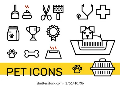 Pet icon set for veterinary clinic, shelter, petfood