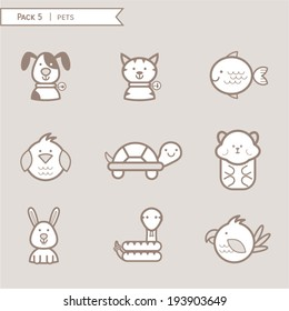Pet icons, animals, pack brown