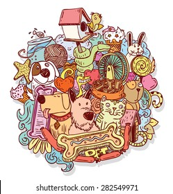 Pet icons doodle, vector illustration.