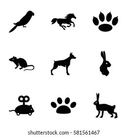 pet icons set. Set of 9 pet filled icons such as dog, mouse, parrot, horse, rabbit, mouse toy