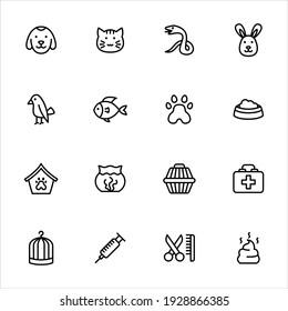 Pet icons set vector graphic illustration