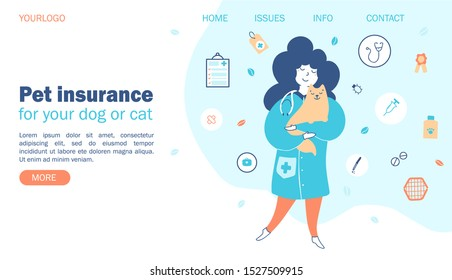 Pet insurance. Concept vets with pets, protection and care for pets. Website template