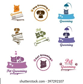 Pet labels, veterinarian icon. Set pet grooming, dog grooming labels, pet badges.Pet grooming or dog care services logo. Cat and  dog logo design template.Cat face and dog face set. Pet  icons vector.