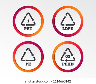 PET, Ld-pe and Hd-pe icons. High-density Polyethylene terephthalate sign. Recycling symbol. Infographic design buttons. Circle templates. Vector