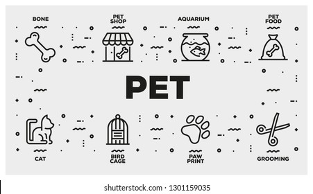 PET LINE ICON SET