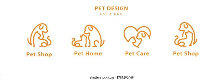 Pet line style logo design set for pet shop, hotel, veterinarian in orange color