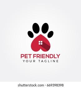 Pet logo design. Dog, animal clinic, pet care center. Paw vector logo.