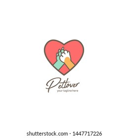 Pet lover logo, pet shop or shelter logo with dog and cat paw hi five inside love amour icon