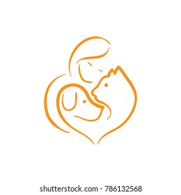 Pet lover. People, Cat and Dog.Pet care logo. illustration women hug dog and cat, heart pet