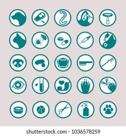 Pet medical icon set