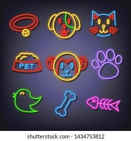 pet neon icons, vector neon glow on dark background