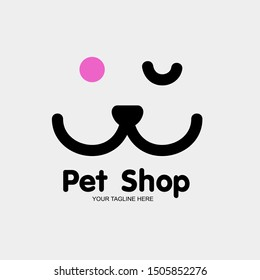 Pet nose in form of logo template. Vector illustration , Pet logo design , Logo with smiling cartoon