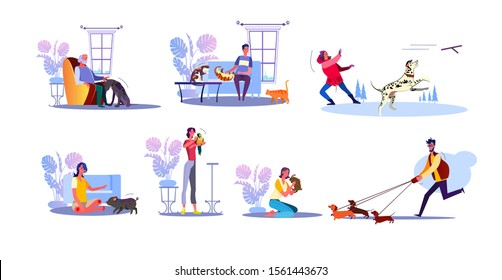 Pet owners set. People playing with cats, training dogs and pigs, cuddling rabbit and parrot. Flat vector illustrations. Animal, leisure, hobby concept for banner, website design or landing web page