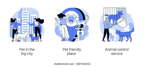 Pet ownership abstract concept vector illustration set. Pet in the big city, dog friendly place, animal control service, walking place, rescue service, stray dogs and cats abstract metaphor.
