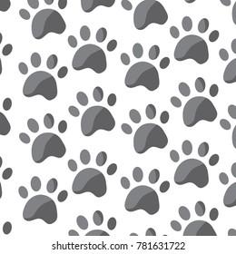 pet paw animal seamless pattern